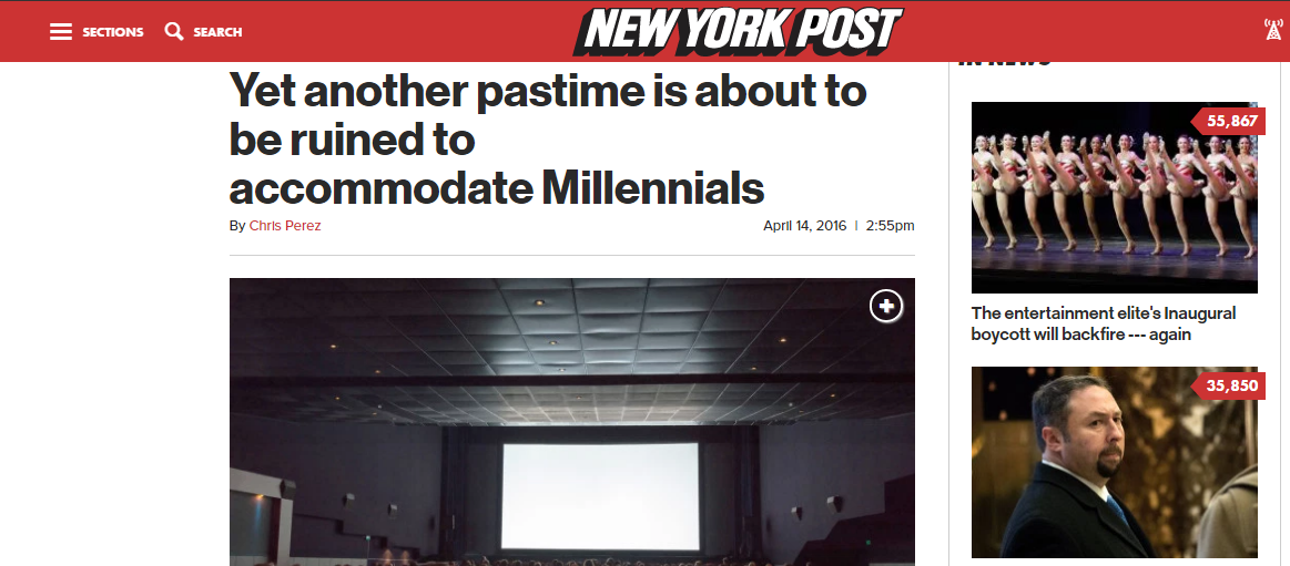 millennials ruining movies